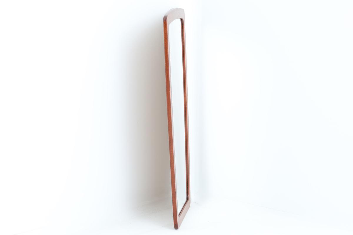 デンマーク製 チーク材ミラー 壁掛け/立掛け 高さ60cm 北欧ビンテージ家具/DK11656