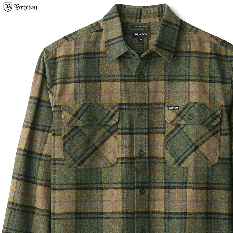 BRIXTON BOWERY L/S FLANNEL (EVERGREEN)