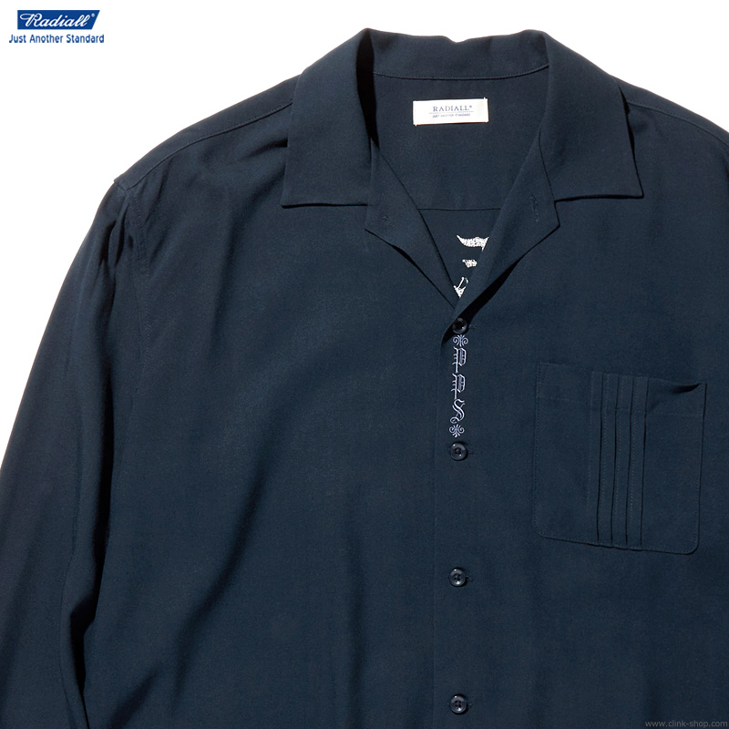 RADIALL REGAL - OPEN COLLARED SHIRT L/S (NAVY)