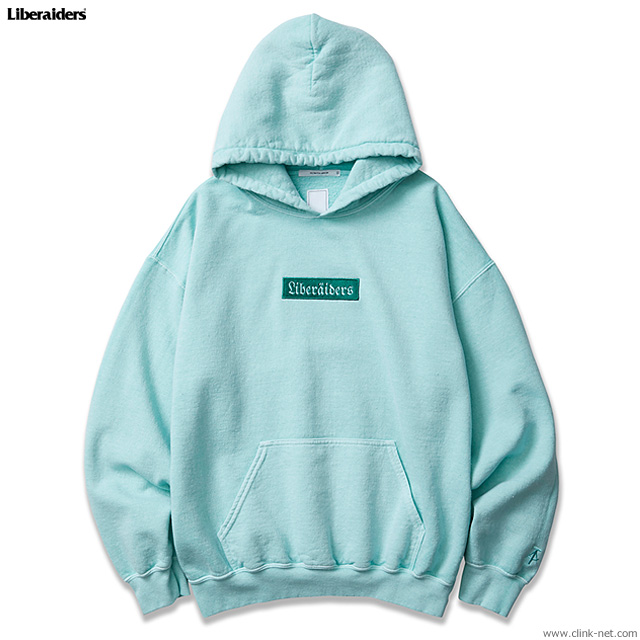 LIBERAIDERS GERMAN LOGO OVERDYED PULLOVER HOODIE (MINT) #76306