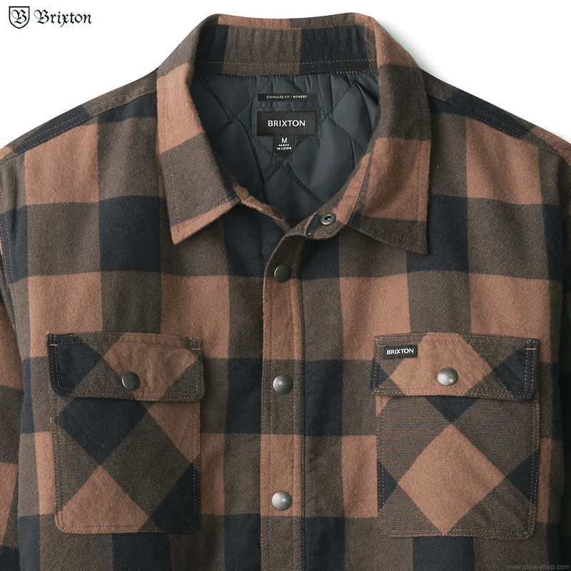 BRIXTON BOWERY LINED L/S FLANNEL (NAVY/COPPER)