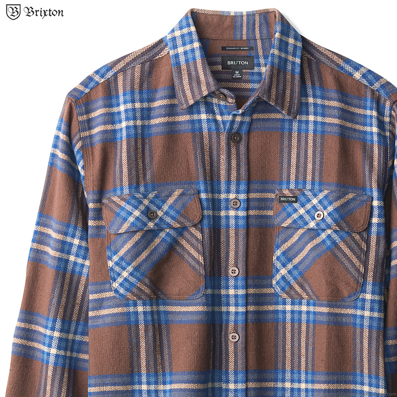 BRIXTON BOWERY L/S X FLANNEL (WASHED BROWN/MINERAL BLUE)