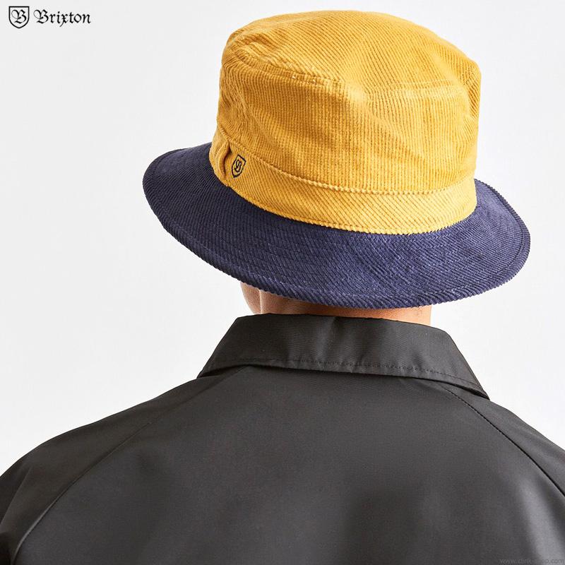 BRIXTON B-SHIELD BUCKET HAT  (YELLOW×WASHED NAVY)