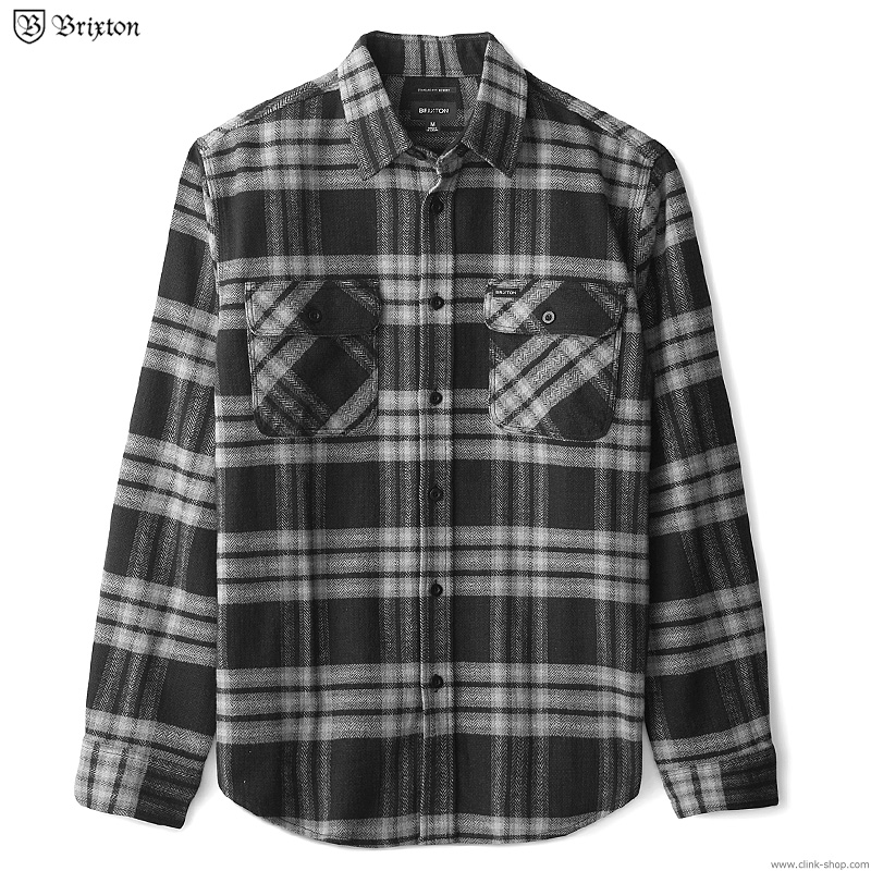 BRIXTON BOWERY L/S X FLANNEL (BLACK/CHACOAL)