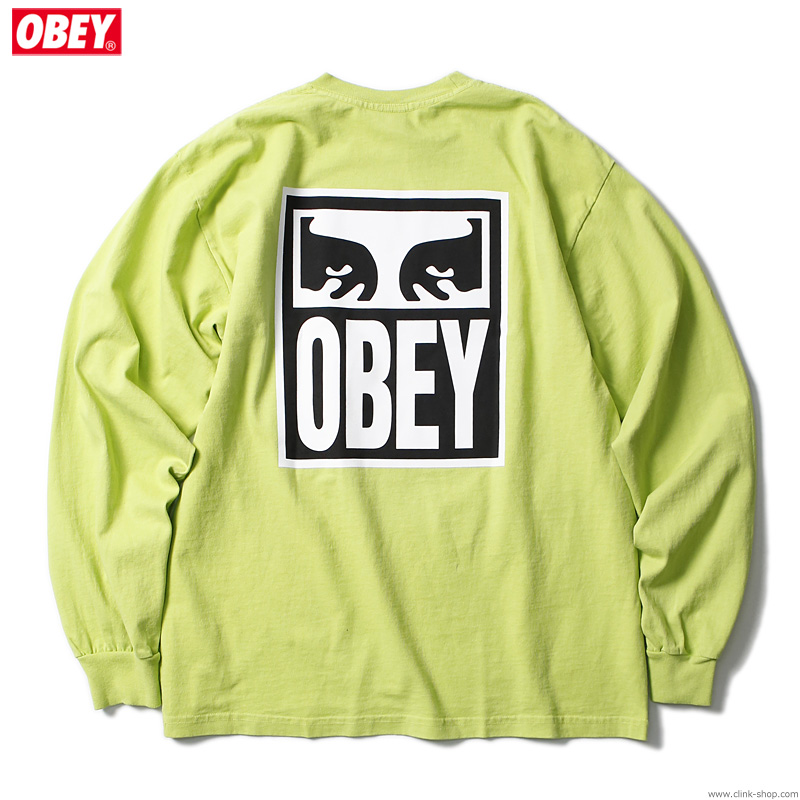 "OBEY HEAVYWEIGHT LONG SLEEVE TEE ""OBEY EYES ICON 2"" (BRIGHT LIME)"