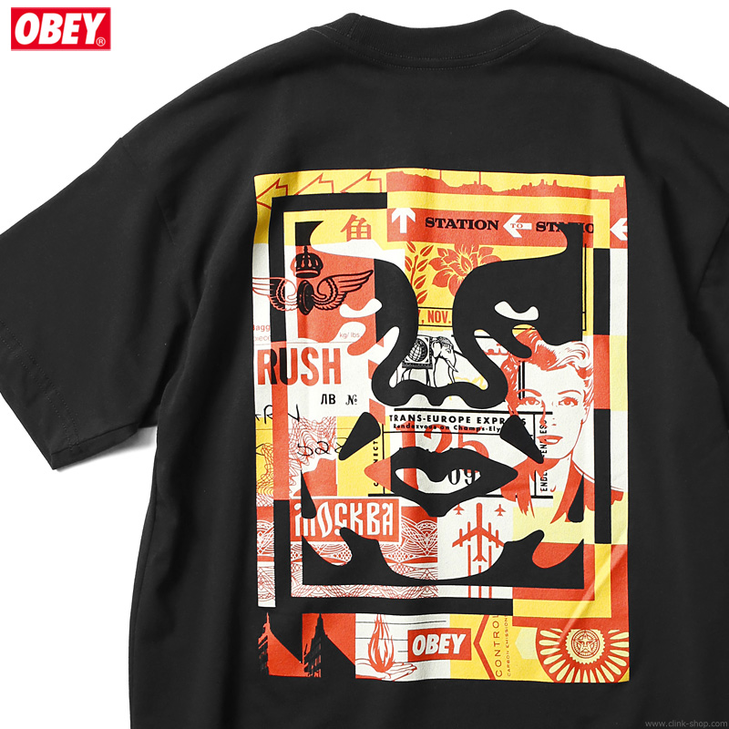 "OBEY SUSTAINABLE TEE ""OBEY 3 FACE COLLAGE"" (BLACK)"