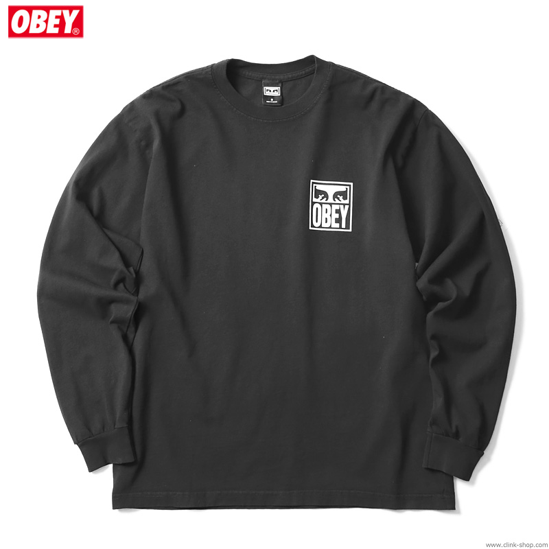 """OBEY HEAVYWEIGHT LONG SLEEVE TEE """"OBEY EYES ICON 2"""" (OFF BLACK)"""