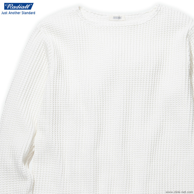 RADIALL BIG WAFFLE - BOAT NECK T-SHIRTS L/S (WHITE)