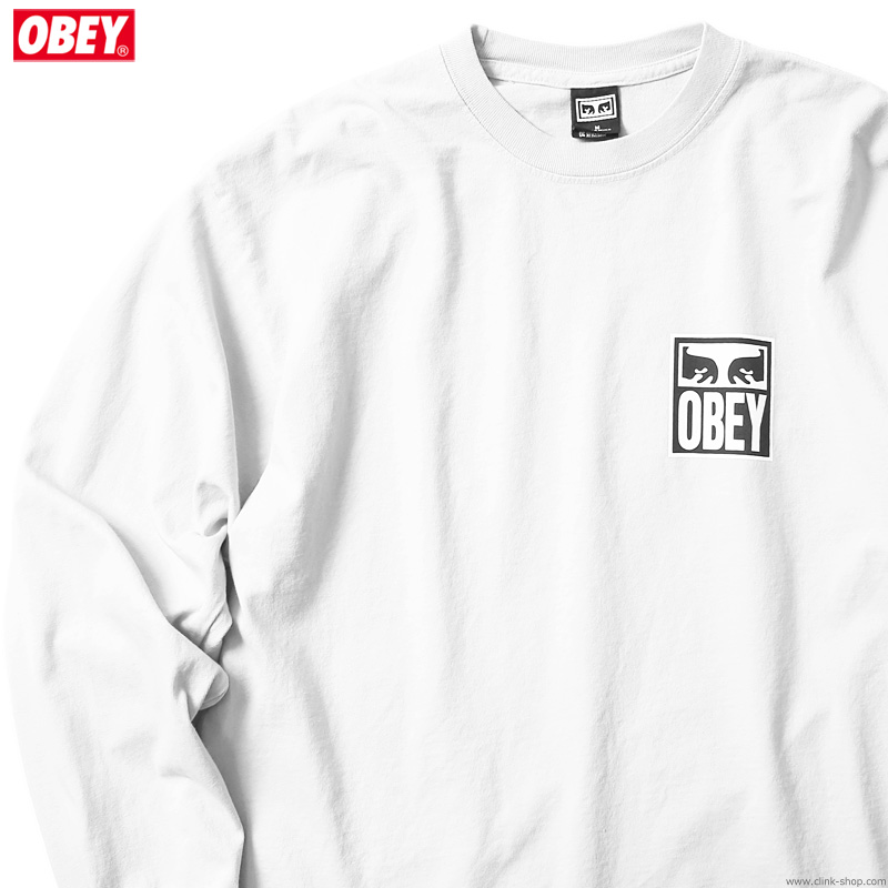 """OBEY HEAVYWEIGHT LONG SLEEVE TEE """"OBEY EYES ICON 2"""" (WHITE)"""