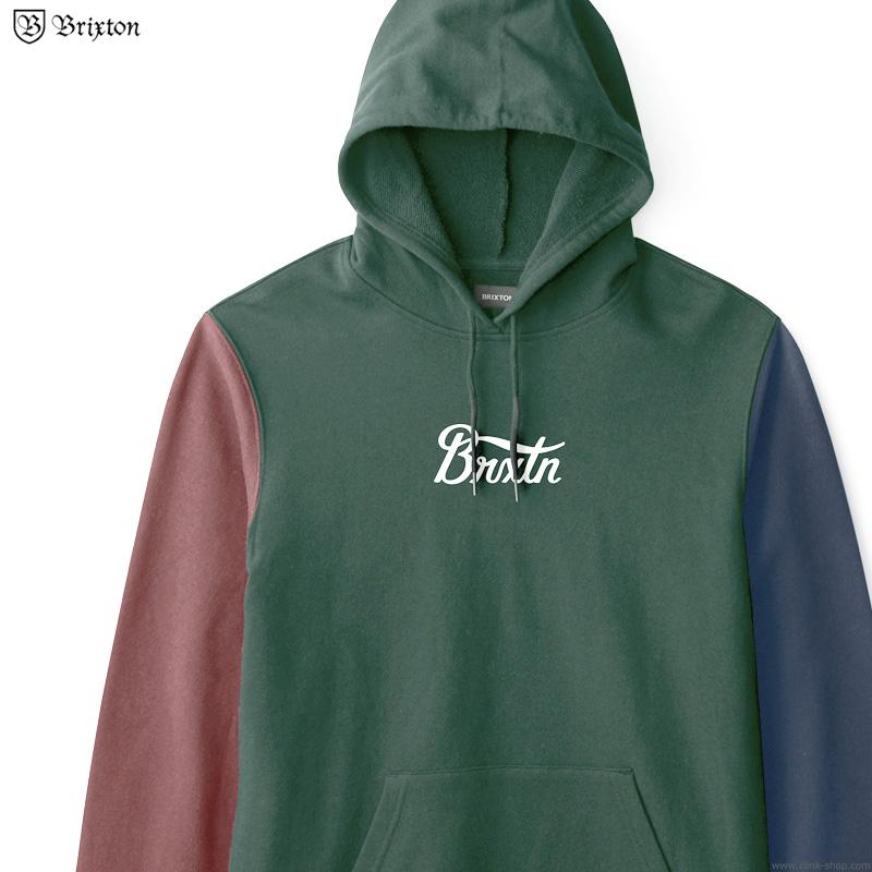 BRIXTON STITH HOOD (EVERGREEN/WASHED NAVY/DARK BRICK)