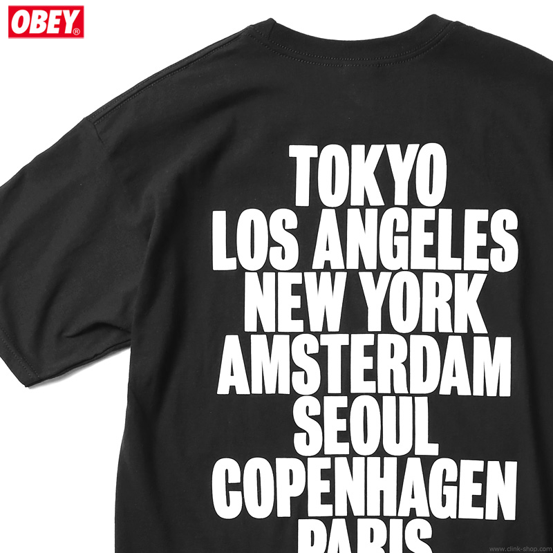 """SALE 30%OFF OBEY BASIC TEE """"OBEY INTERNATIONAL CITIES"""" (BLACK)"""