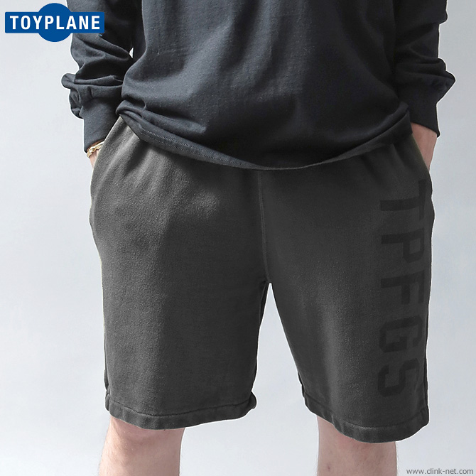 TOYPLANE PIGMENT DYE SWEAT SHORTS (BLACK) [TP19-NPT01]