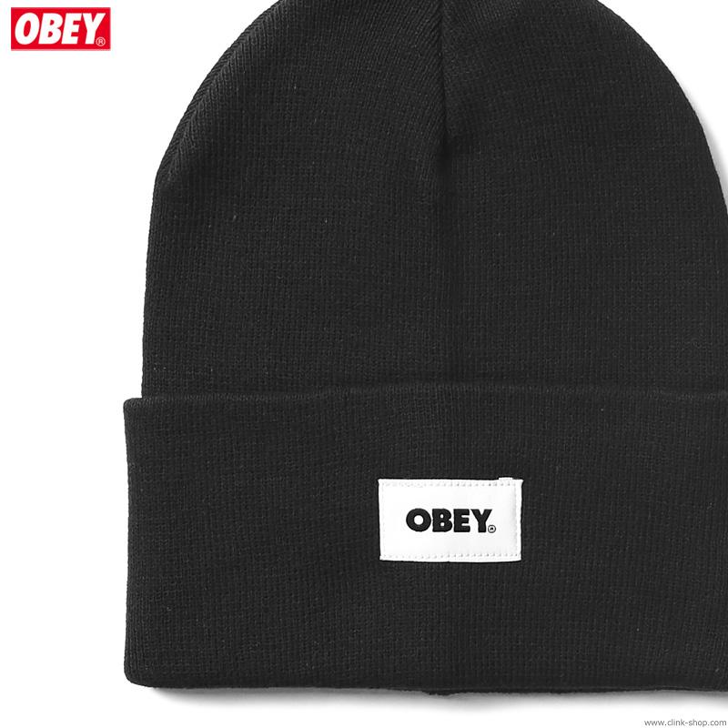 OBEY BOLD LABEL ORGANIC BEANIE (BLACK)