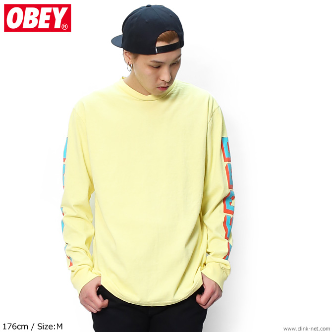 "OBEY CUSTOM HEAVYWEIGHT PIGMENT LONG SLEEVE TEE ""OBEY NEW WORLD 2"" (DUSTY LEMON)"