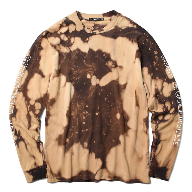 "OBEY BLEACH TIE DYE LONG SLEEVE TEE ""OBEY WORLDWIDE OUTLINE"" (BLACK)"