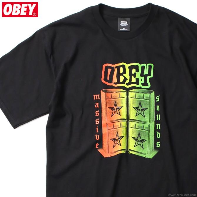 "★SALE★ OBEY BASIC TEES ""OBEY MASSIVE SOUNDS"" (BLACK)"