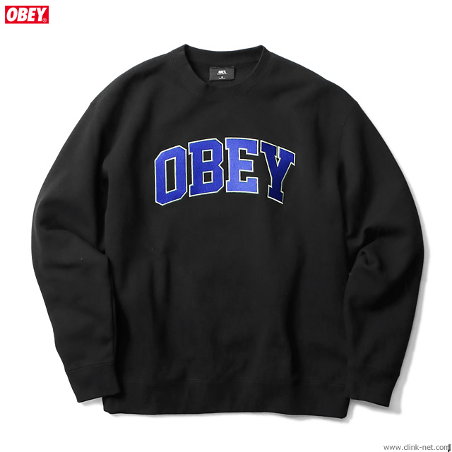 "OBEY CREW NECK FLEECE ""OBEY SPORTS CREW"" (BLACK)"