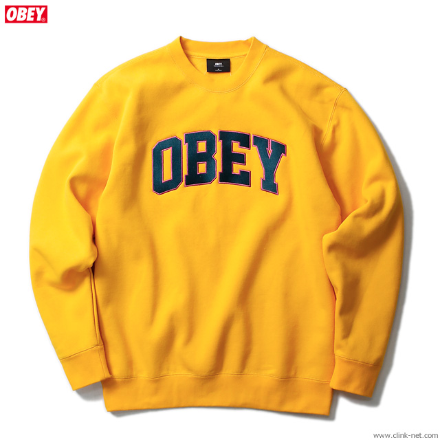"OBEY CREW NECK FLEECE ""OBEY SPORTS CREW"" (GOLD)"