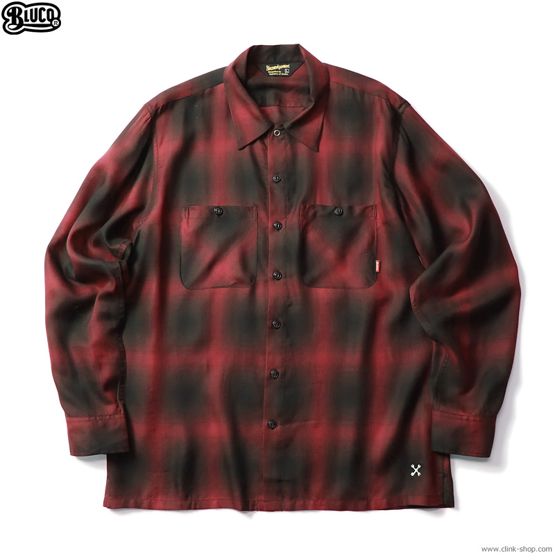 BLUCO OMBRE WORK SHIRTS L/S (RED-BLK) [OL-109OT-021]