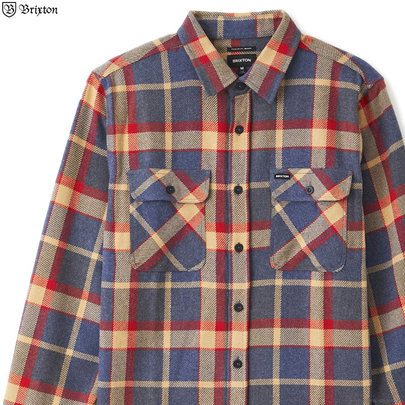 BRIXTON BOWERY L/S FLANNEL (BLUE×RED)