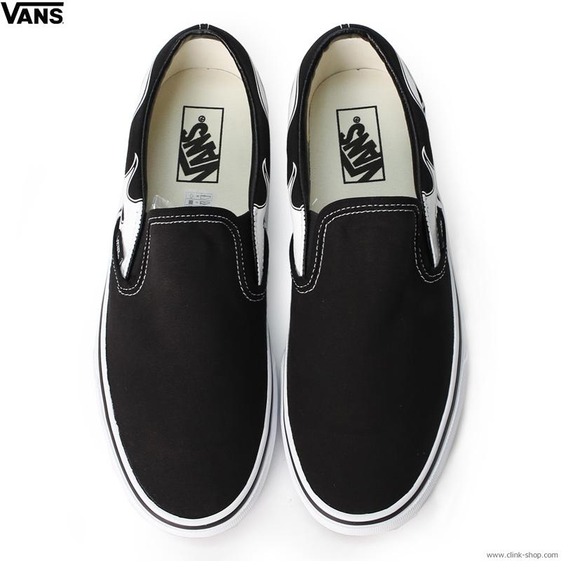 VANS CLASSIC SLIP-ON BLACK/WHITE (FLAME)