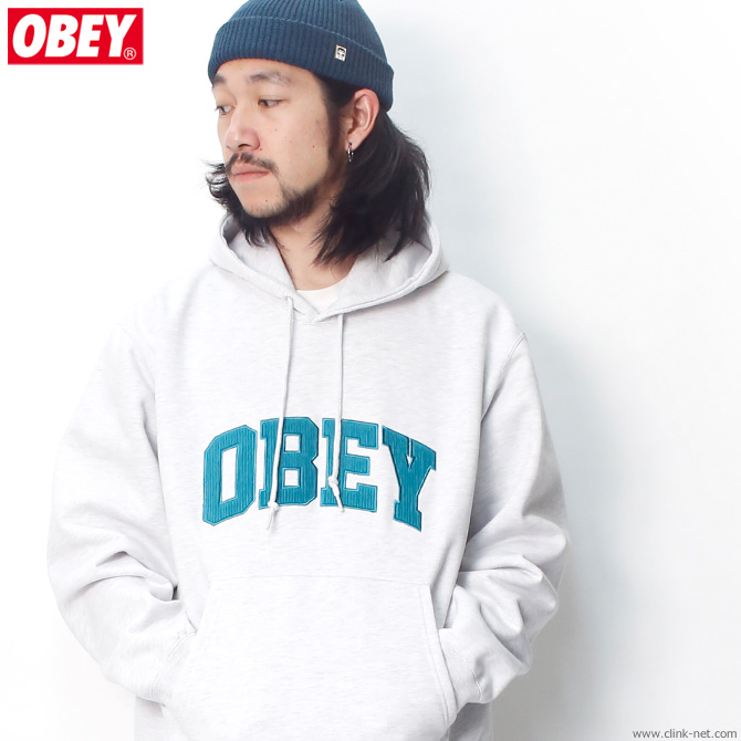 "OBEY PULLOVER HOODED FLEECE ""OBEY UNI HOOD"" (ASH GRAY)"