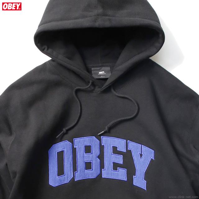 """OBEY PULLOVER HOODED FLEECE """"OBEY UNI HOOD"""" (BLACK)"""