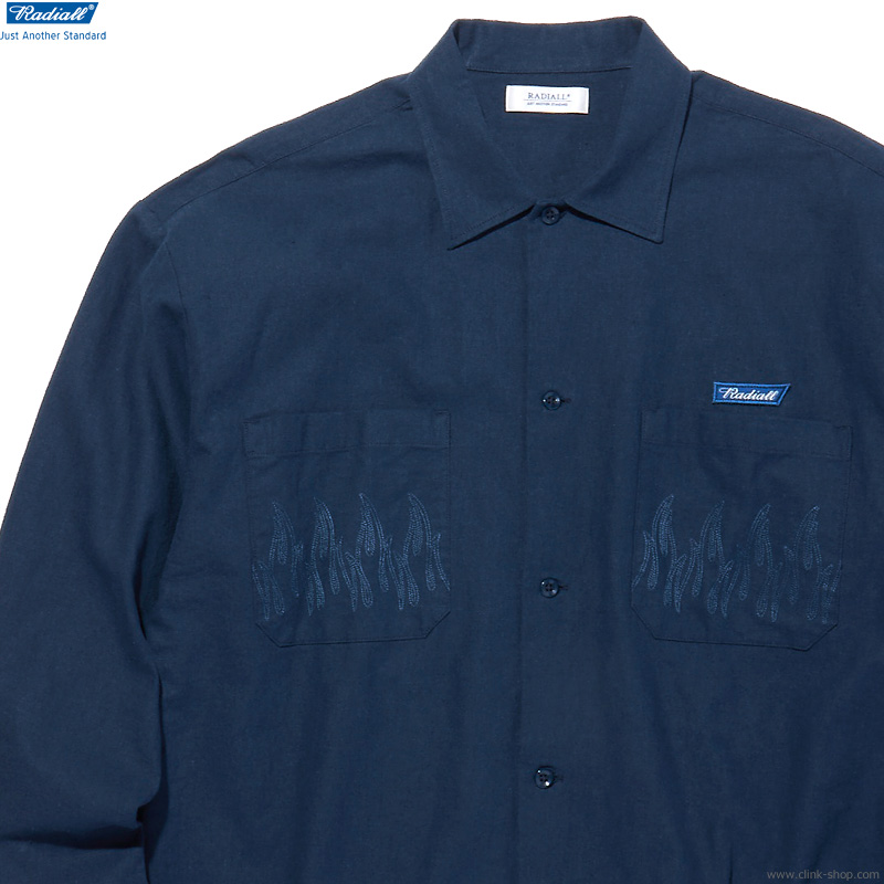 RADIALL SLOW BURN - OPEN COLLARED SHIRT L/S (NAVY)
