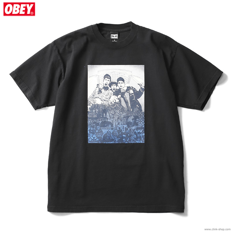 "OBEY HEAVYWEIGHT BOX TEE ""OBEY×BEASTIE BOYS×GEF"" (BLACK) [OBEY×GLEN E. FRIEDMAN ""TOGETHER FOREVER"" LTD.]"