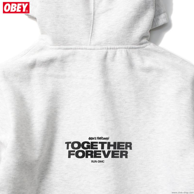 "OBEY BOX FIT PREMIUM HOOD ""OBEY×RUN-DMC×GEF"" (ASH GRAY) [OBEY×GLEN E. FRIEDMAN ""TOGETHER FOREVER"" LTD.]"