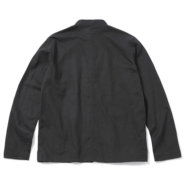 TOYPLANE BAND COLLAR COVERALL JACKET (BLACK) [TP17-FSH02]