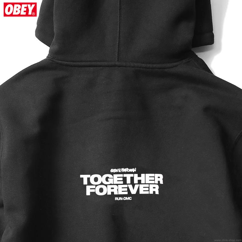 "OBEY BOX FIT PREMIUM HOOD ""OBEY×RUN-DMC×GEF"" (BLACK) [OBEY×GLEN E. FRIEDMAN ""TOGETHER FOREVER"" LTD.]"