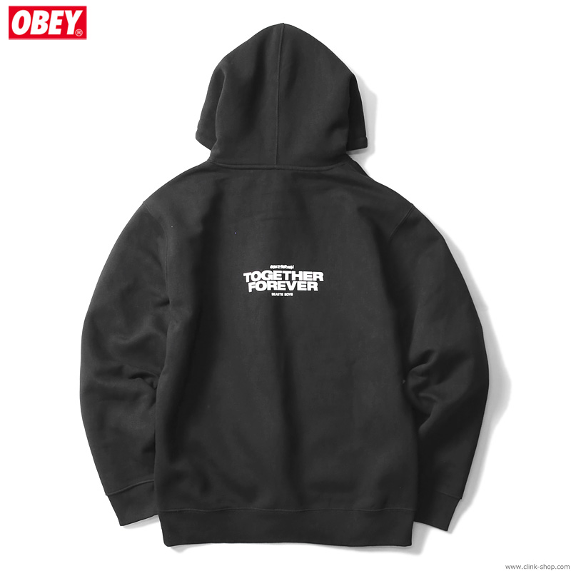 "OBEY BOX FIT PREMIUM HOOD ""OBEY×BEASTIE BOYS×GEF"" (BLACK) [OBEY×GLEN E. FRIEDMAN ""TOGETHER FOREVER"" LTD.]"