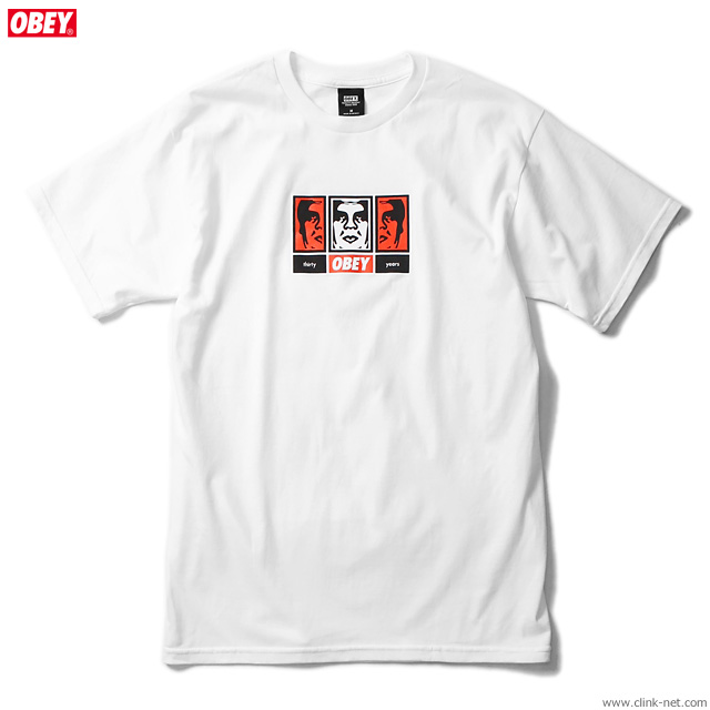 """OBEY BASIC TEE """"OBEY 3 FACES 30YEARS"""" (WHITE)"""