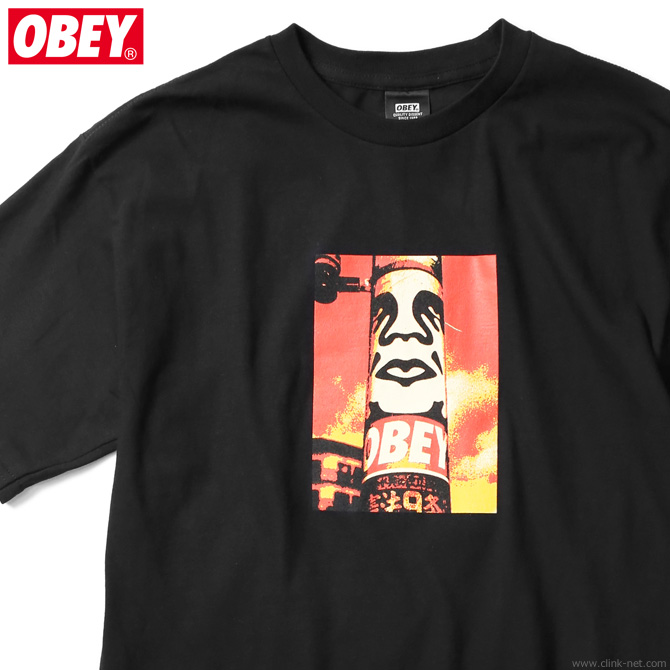 "OBEY BASIC TEE ""OBEY POLE 30YEARS"" (BLACK)"