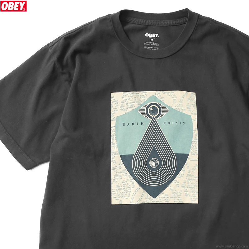 """OBEY ORGANIC SUPERIOR TEE """"EARTH CRISIS"""" (BLACK) [SHEPARD FAIREY COLLECTION] (BLACK)"""