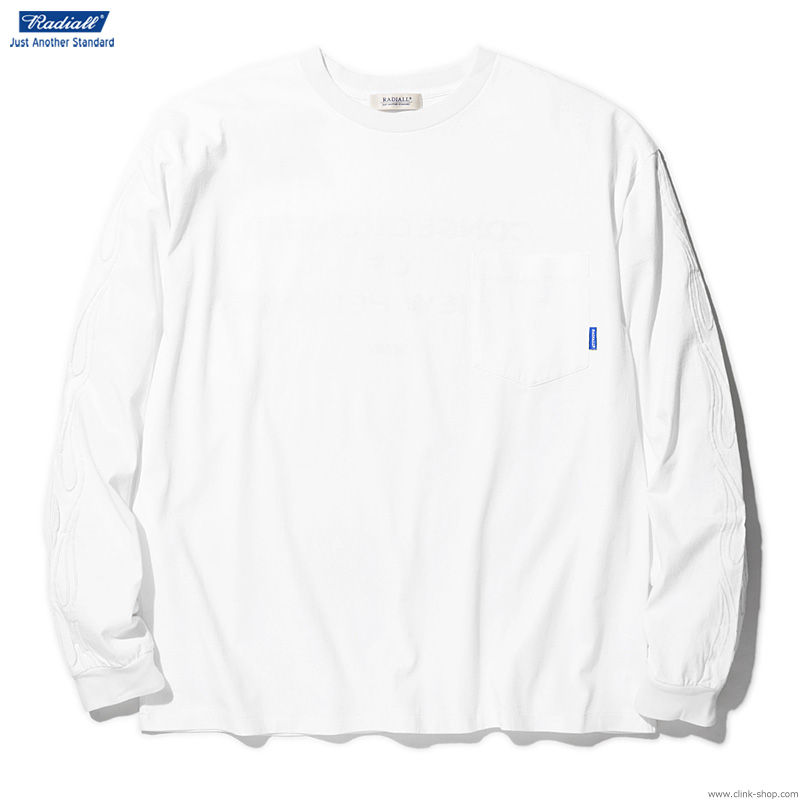RADIALL FLAMES - CREW NECK POCKET T-SHIRT L/S (WHITE)