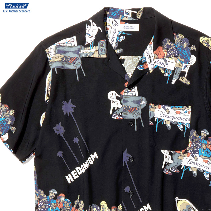 RADIALL BIBLE - OPEN COLLARED SHIRT S/S (BLACK)