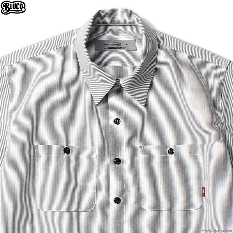 BLUCO STANDARD WORK SHIRTS S/S (L.GY-GY.STP) [OL-108-021]