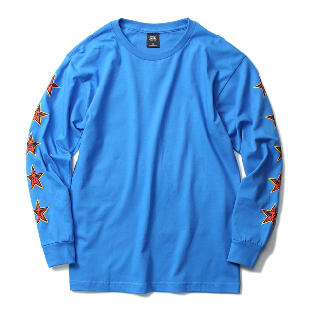 """★SALE★ OBEY BASIC LONG SLEEVE TEE """"OBEY STAR FACE"""" (SKY AZURE)"""