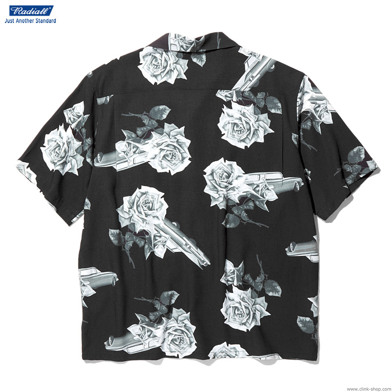 RADIALL CHEVY ROSE - OPEN COLLARED SHIRT S/S (BLACK)