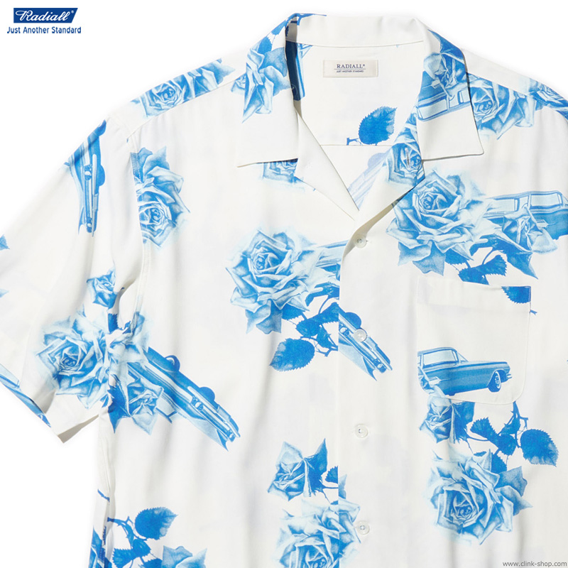 RADIALL CHEVY ROSE - OPEN COLLARED SHIRT S/S (WHITE)