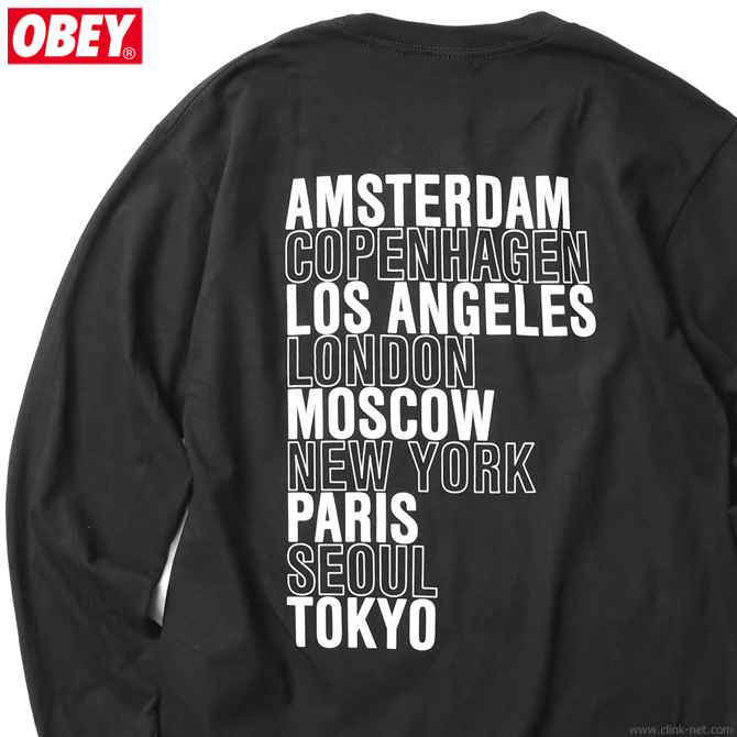 "★SALE★ OBEY BASIC LONG SLEEVE TEE ""OBEY INTL. CITIES"" (BLACK)"