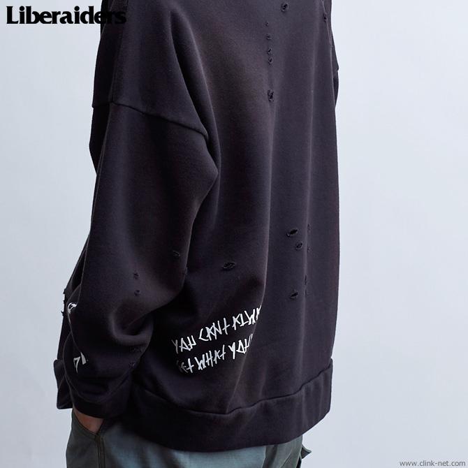LIBERAIDERS DAMAGED PULLOVER HOODIE (BLACK) #71301