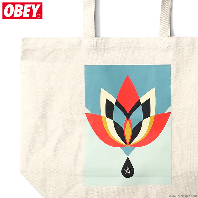 """OBEY TOTE BAG """"OBEY GEOMETRIC FLOWER"""" (NATURAL)"""