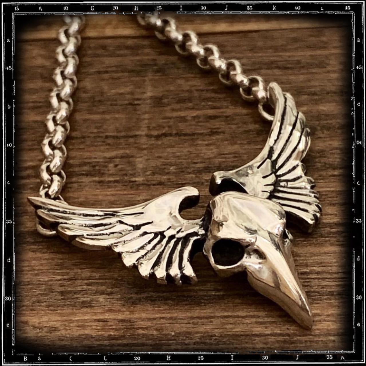WINGED BIRD SKULL PENDANT W/CHAIN