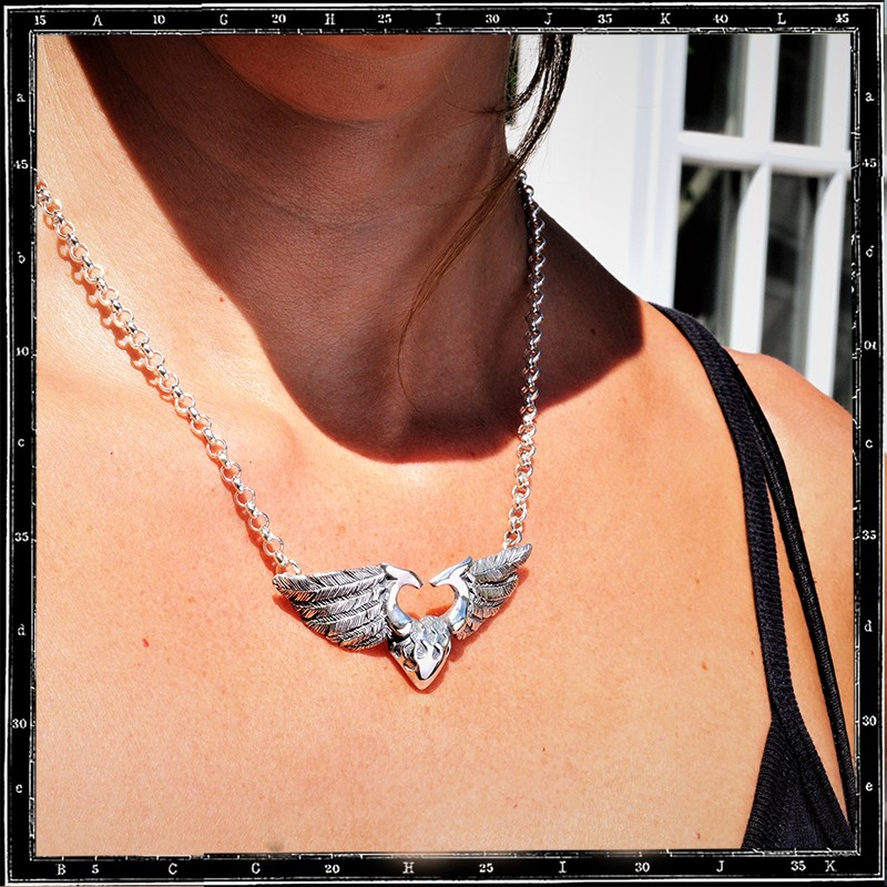 LARGE 3D HEART & WINGS NECKLACE