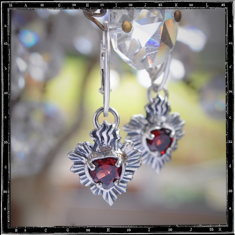 MILAGRO MEXICAN SACRED HEART STONE EARRINGS