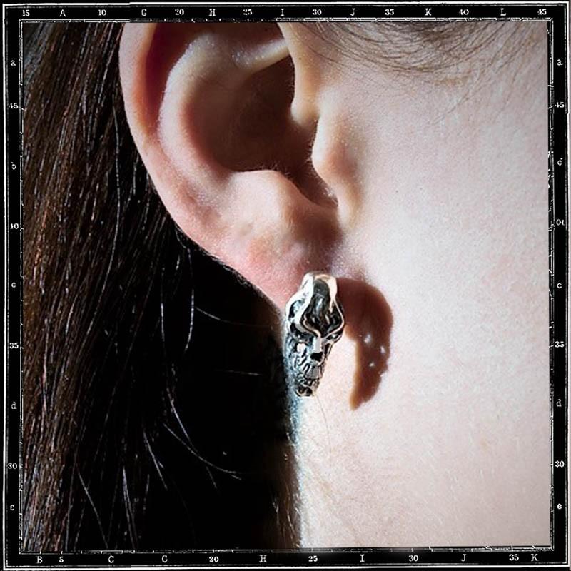 SNARL SKULL STUD EARRING
