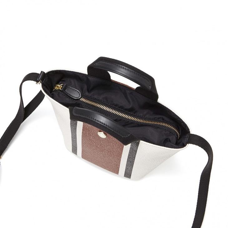 [トプカピ ブレス] TOPKAPI BREATH 【5th限定】スコッチグレイン ネオレザー ショルダー付き ミニ トートバッグ センターストライプ